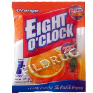 Eight o'clock, powdered juice orange